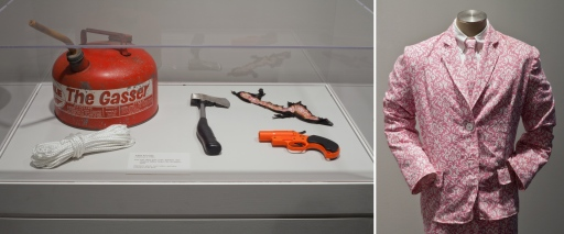 Paisley Suit, Gas Can, Rope, Hatchet, Flare Gun, and Charred Fabric from The Stranger, 2013